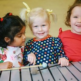 little girls on xylophone